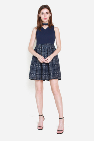 Chin Up Dress in Navy