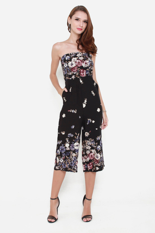 Blooming Radiance Midi Jumpsuit in Black Florals