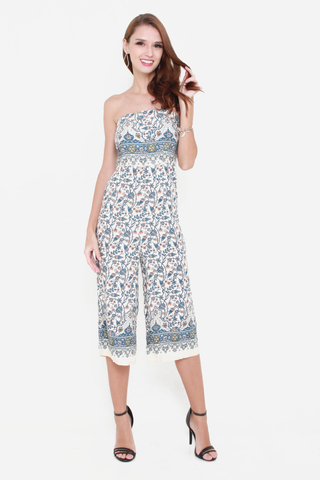 Blooming Radiance Midi Jumpsuit in Cream Florals