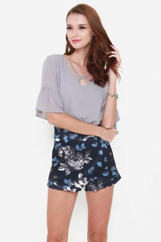 Cross My Heart Chiffon Top in Grey