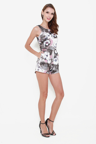 Flower Play Romper in Grey