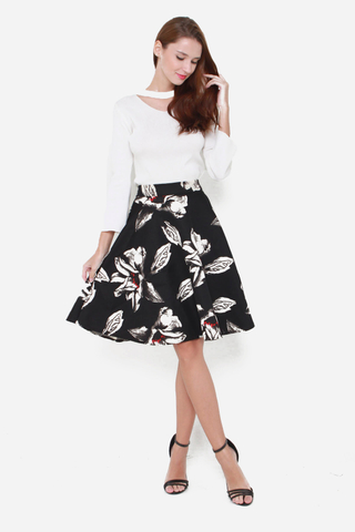 Grin and Flare Floral Skirt in Black Floral Print