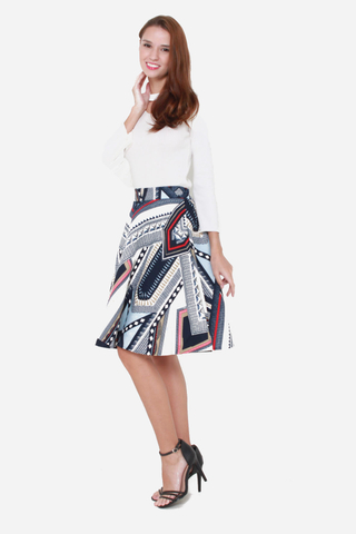 Grin and Flare Floral Skirt in Patchwork Pattern
