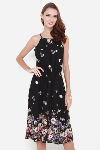 Little Blooms Midi Dress in Black