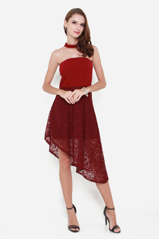 My Lace Affair Tube Dress in Maroon