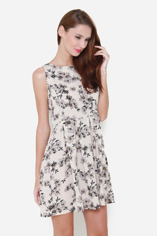 Spring Blooms Dress in Cream