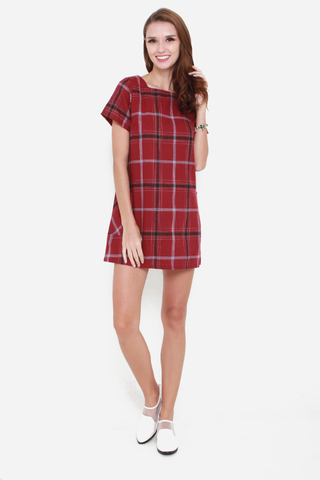 Plaid Influence Shift Dress In Maroon