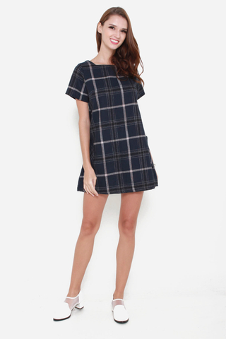 Plaid Influence Shift Dress In Navy