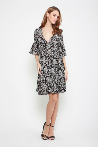 Deep It Low Wrap Dress in Floral