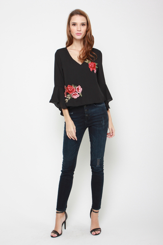 Open Secrets Blouse in Black