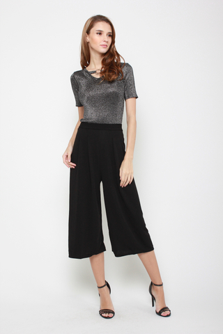 Sky's The Limit High Waisted Culottes in Black