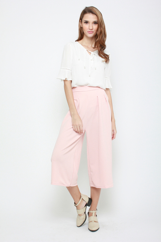 Sky's The Limit High Waisted Culottes in Rose