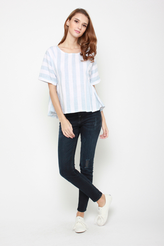 Stripe Up Blouse in Blue
