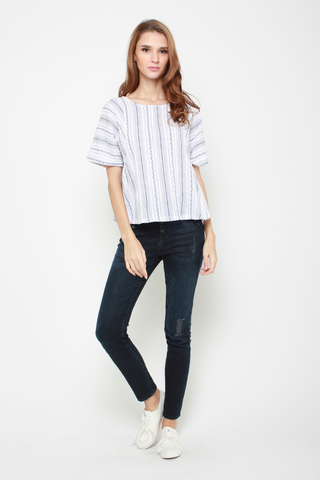 Stripe Up Blouse in Navy