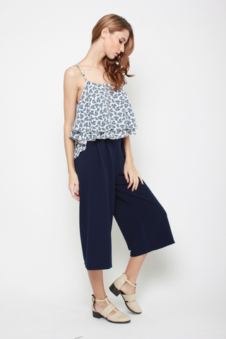 Sky's The Limit High Waisted Culottes in Navy