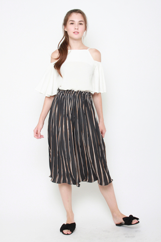 Attention Pleats Culottes in Midnight Stripes