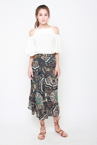 It's a Tie Maxi Skirt in Dark Floral