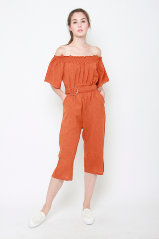 No Strings Attached Off The Shoulder Jumpsuit in Burnt Orange