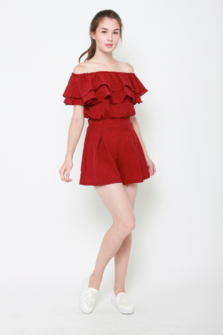 Off with the Waves Off Shoulder Top and Shorts Set in Red
