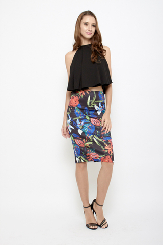 Sun is Up Floral Pencil Skirt in Abstract Black