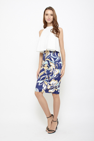 Sun is Up Floral Pencil Skirt in Abstract Blue