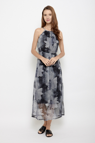 Branch Out Halter Neck Maxi Dress in Monochrome