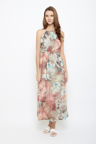 Branch Out Halter Neck Maxi Dress in Sunrise Blush