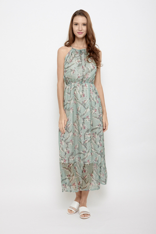 Branch Out Halter Neck Maxi Dress in Teal