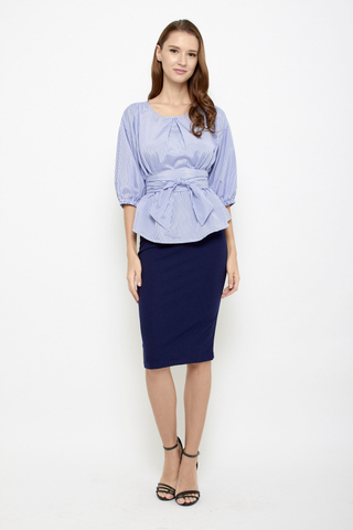 Keep it Together Blouse in Blue Stripes