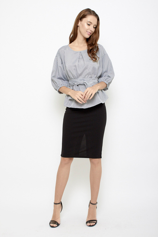 Keep it Together Blouse in Black Stripes