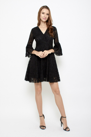 Lace be honest babydoll bell sleeves dress in Black