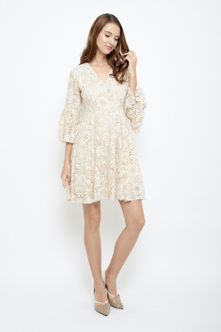 Lace be honest babydoll bell sleeves dress in Cream