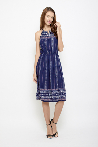 Peek a Boo Halter Neck Midi Dress in Navy Aztech
