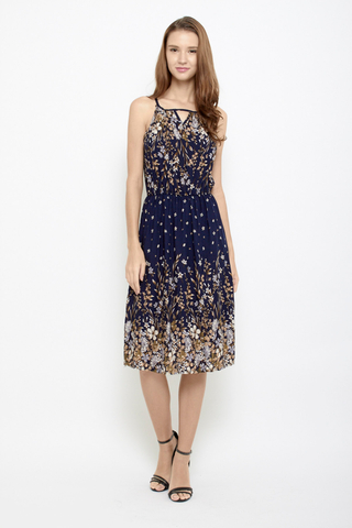 Peek a Boo Halter Neck Midi Dress in Navy Florals