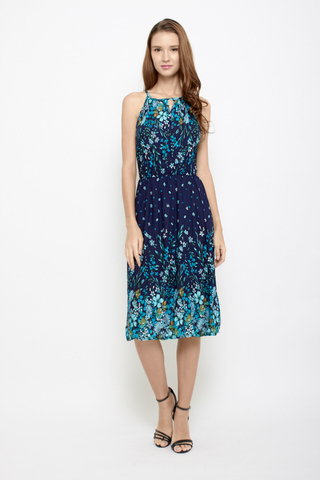 Peek a Boo Halter Neck Midi Dress in Ombre Florals