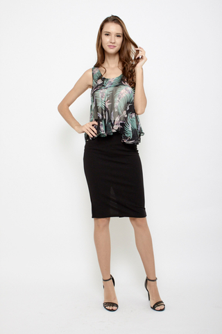 Sheer Me Out Blouse in Black Tropics
