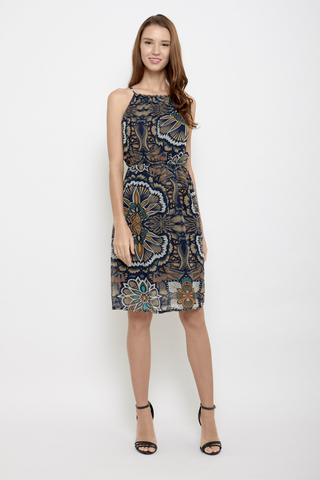 Shine Bright like a Flower Halter Neck Midi Dress in Artsy Prints