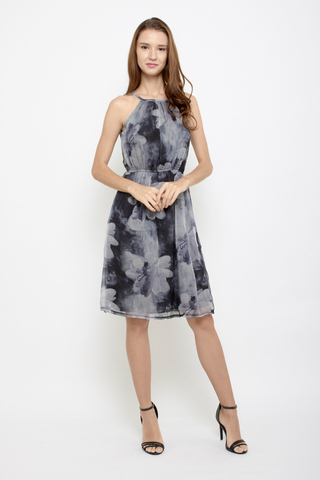Shine Bright like a Flower Halter Neck Midi Dress in Monochrome
