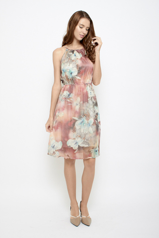 Shine Bright like a Flower Halter Neck Midi Dress in Sunrise Blush