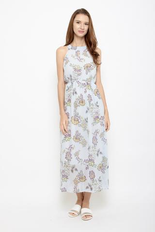 Spring Street Halter Neck Maxi Dress in Baby Blue