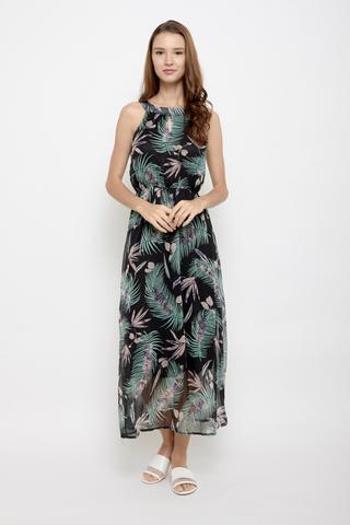 Spring Street Halter Neck Maxi Dress in Palm Prints