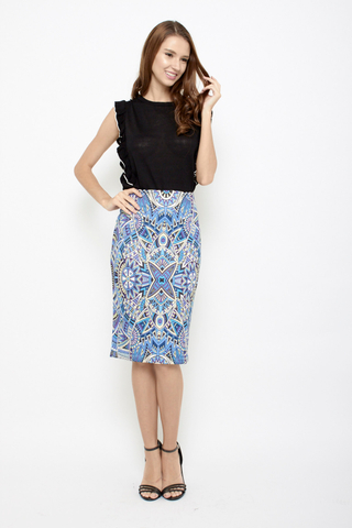 Sun is Up Floral Pencil Skirt in Futuristic Blue