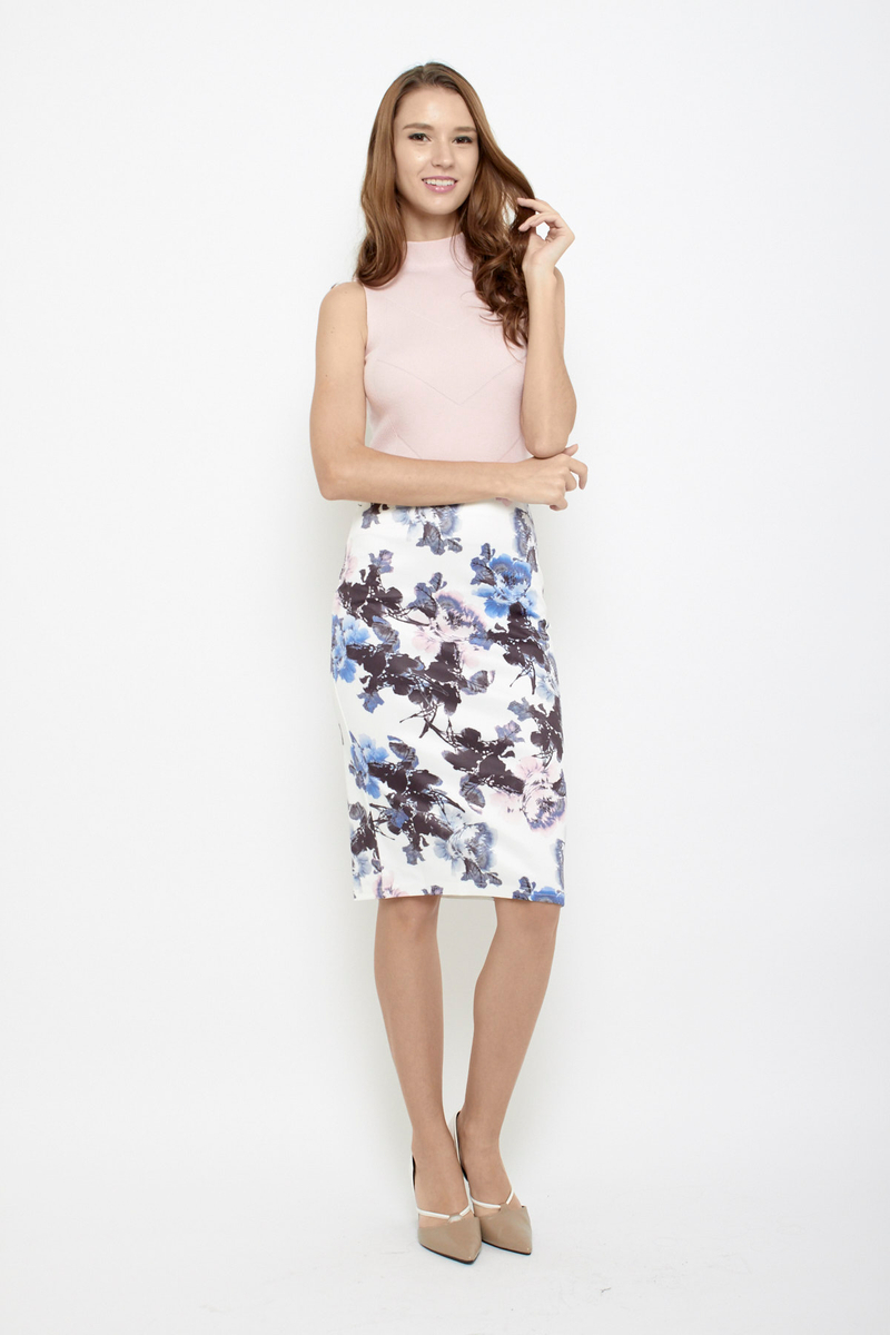4804129503 Sun is Up Floral Pencil Skirt in Watercolour Blue | Sophialuv
