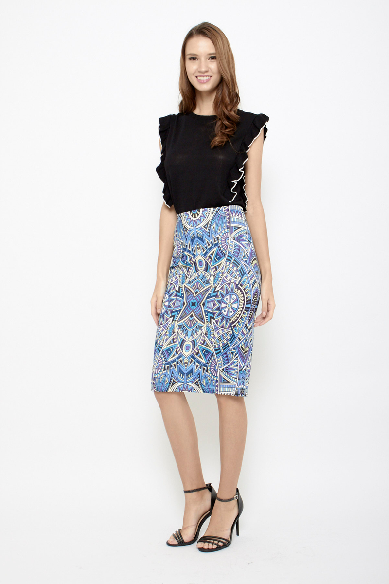d0a3b893d Sun is Up Floral Pencil Skirt in Futuristic Blue | Sophialuv