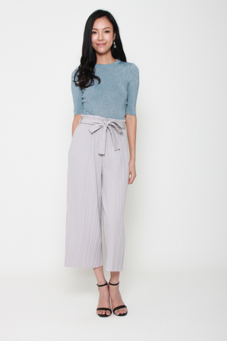 Pretty Pleats Wide Leg Culottes in Grey
