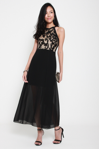 Ace of Heart Halter Neck Maxi Dress in Black
