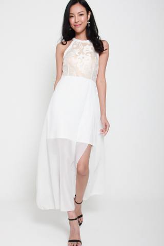 Ace of Heart Halter Neck Maxi Dress in White