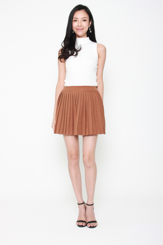 Com-Pleat Your Look Mini Skirt in Paperbag Brown