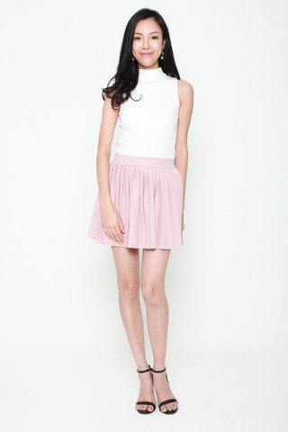 Com-Pleat Your Look Mini Skirt in Rose