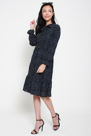 Disco Fever Long Sleeved Dress in Dots